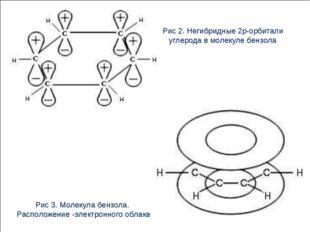 Рис 2. Негибридные 2p-орбитали углерода в молекуле бензола Рис 3. Молекула бе