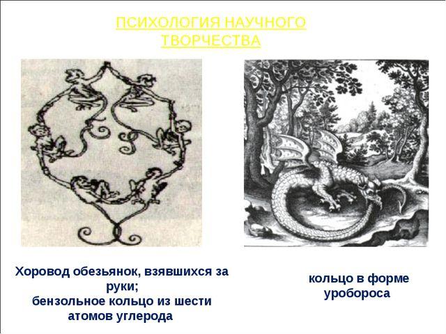 кольцо в форме уробороса Хоровод обезьянок, взявшихся за руки; бензольное кол...