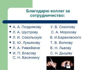 Благодарю коллег за сотрудничество: А. А. Позднякову У. В. Соколову Л. А. Шус