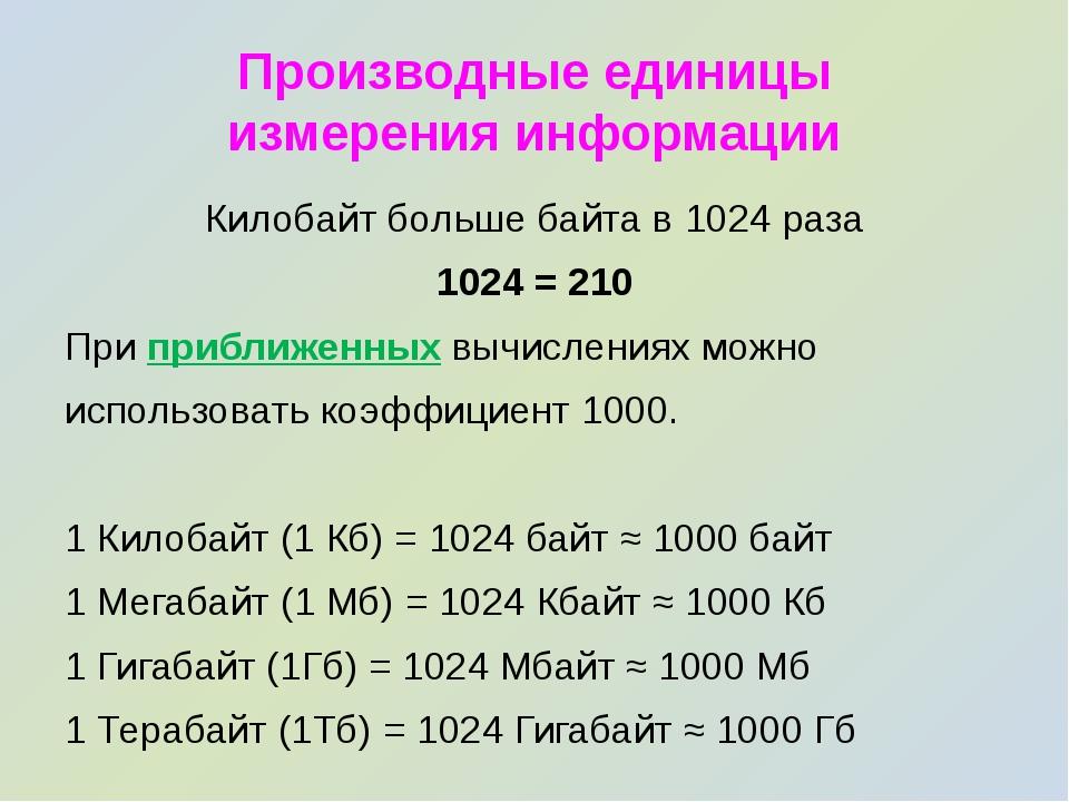 Производные единицы измерения информации Килобайт больше байта в 1024 раза 10...