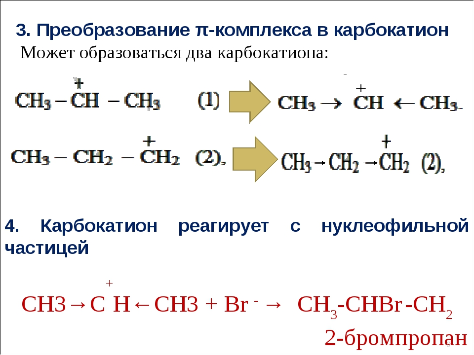 3. Преобразование π-комплекса в карбокатион Может образоваться два карбокатио...