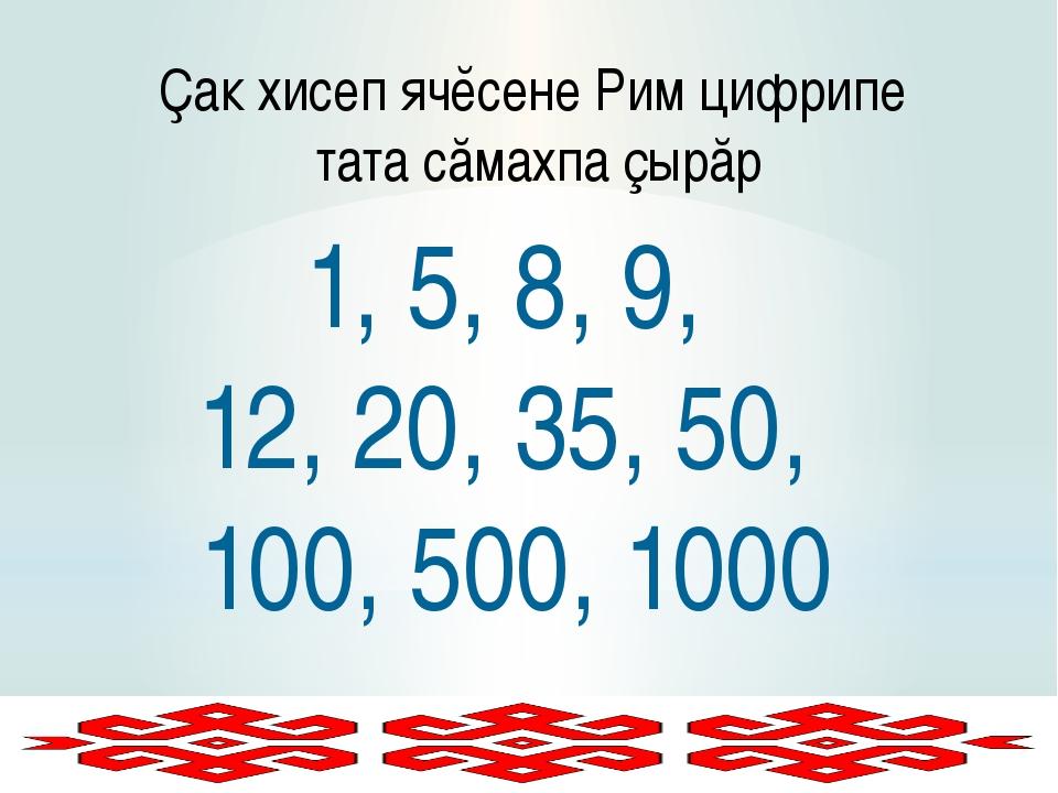 Ҫак хисеп ячĕсене Рим цифрипе тата сăмахпа çырăр 1, 5, 8, 9, 12, 20, 35, 50,...