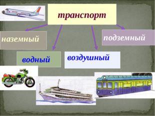 транспорт наземный водный воздушный подземный