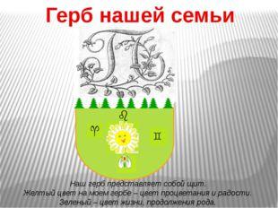 Герб нашей семьи Наш герб представляет собой щит. Желтый цвет на моем гербе