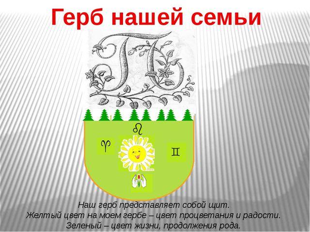 Герб нашей семьи Наш герб представляет собой щит. Желтый цвет на моем гербе...