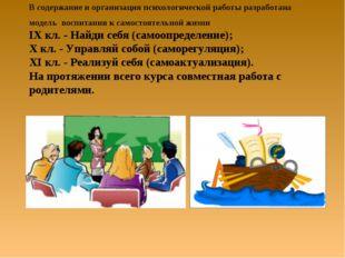 В содержание и организация психологической работы разработана модель воспитан