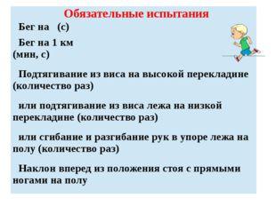 Обязательные испытания Бег на (с) Бег на 1 км (мин, с) Подтягивание из виса н