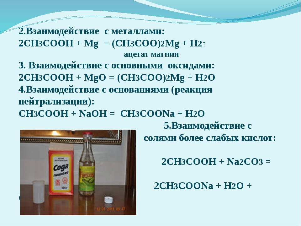 2.Взаимодействие с металлами: 2СН3СООН + Mg = (СН3СОО)2Mg + H2↑ ацетат магния...