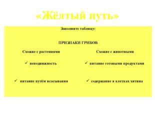 «Жёлтый путь» Заполните таблицу:  ПРИЗНАКИ ГРИБОВ Схожие с растениями Схожие