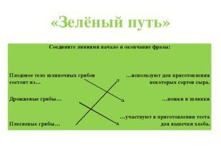 «Зелёный путь» Соедините линиями начало и окончание фразы: Плодовое тело шляп