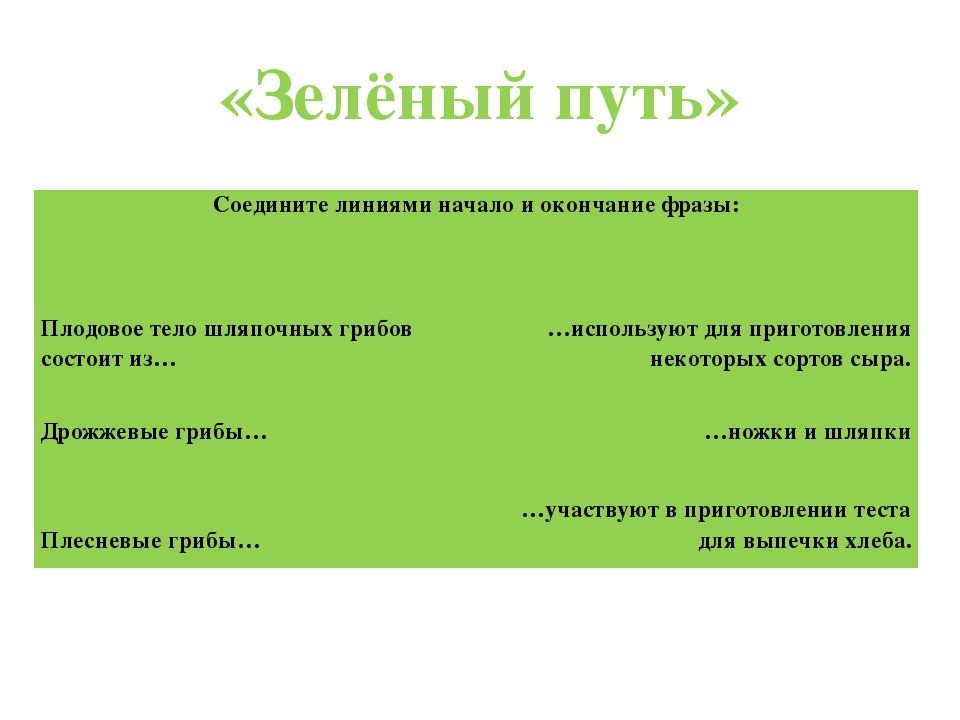 «Зелёный путь» Соедините линиями начало и окончание фразы: Плодовое тело шляп...