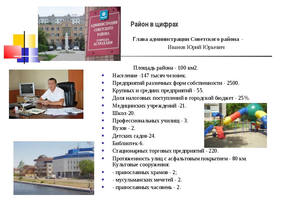 Площадь района - 100 км2. Население -147 тысяч человек. Предприятий различны...