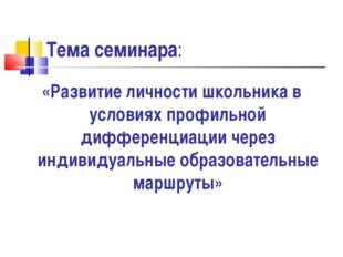 Тема семинара: «Развитие личности школьника в условиях профильной дифференциа