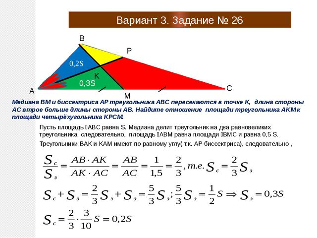Вариант 3. Задание № 26 A B C P M K Медиана BM и биссектриса AP треугольника...