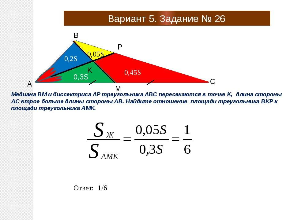 Вариант 5. Задание № 26 A B C P M K Медиана BM и биссектриса AP треугольника...