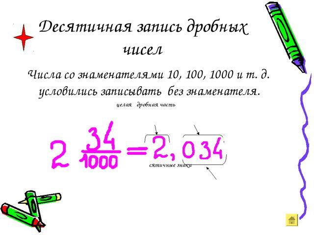 Десятичная запись дробных чисел Числа со знаменателями 10, 100, 1000 и т. д....