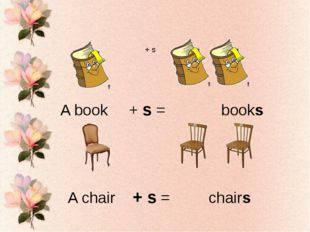 + s A book + s = books A chair + s = chairs