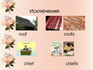 Исключения: roof roofs chief chiefs