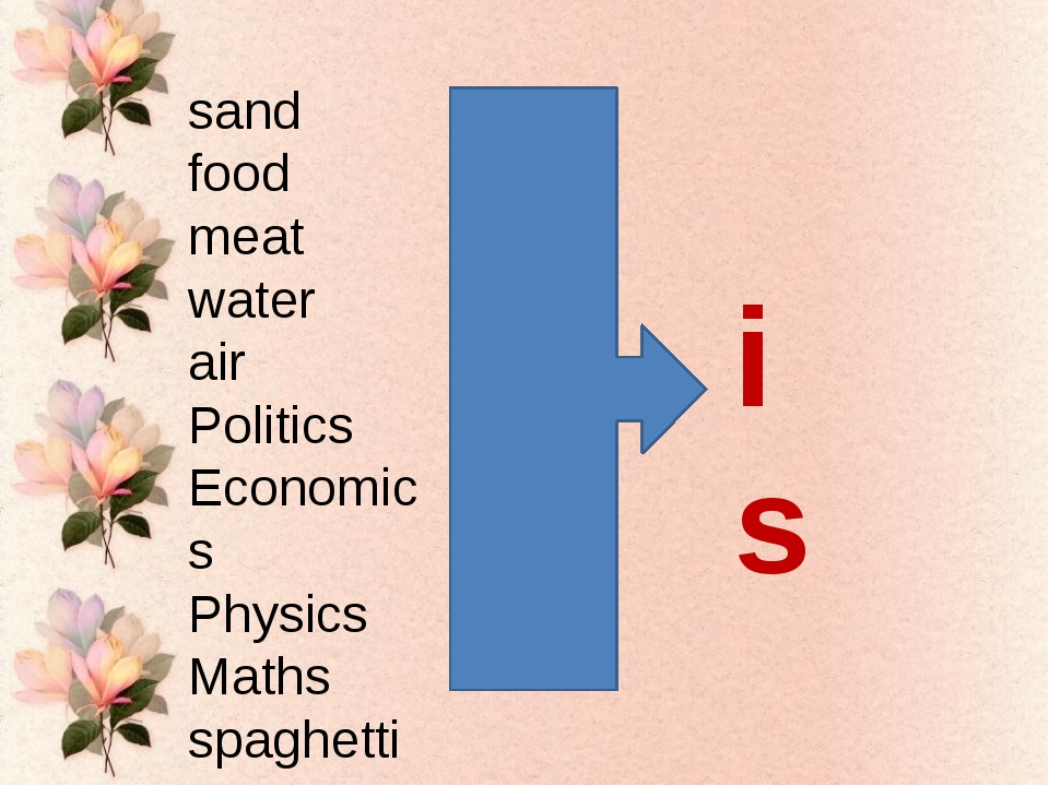 sand food meat water air Politics Economics Physics Maths spaghetti is