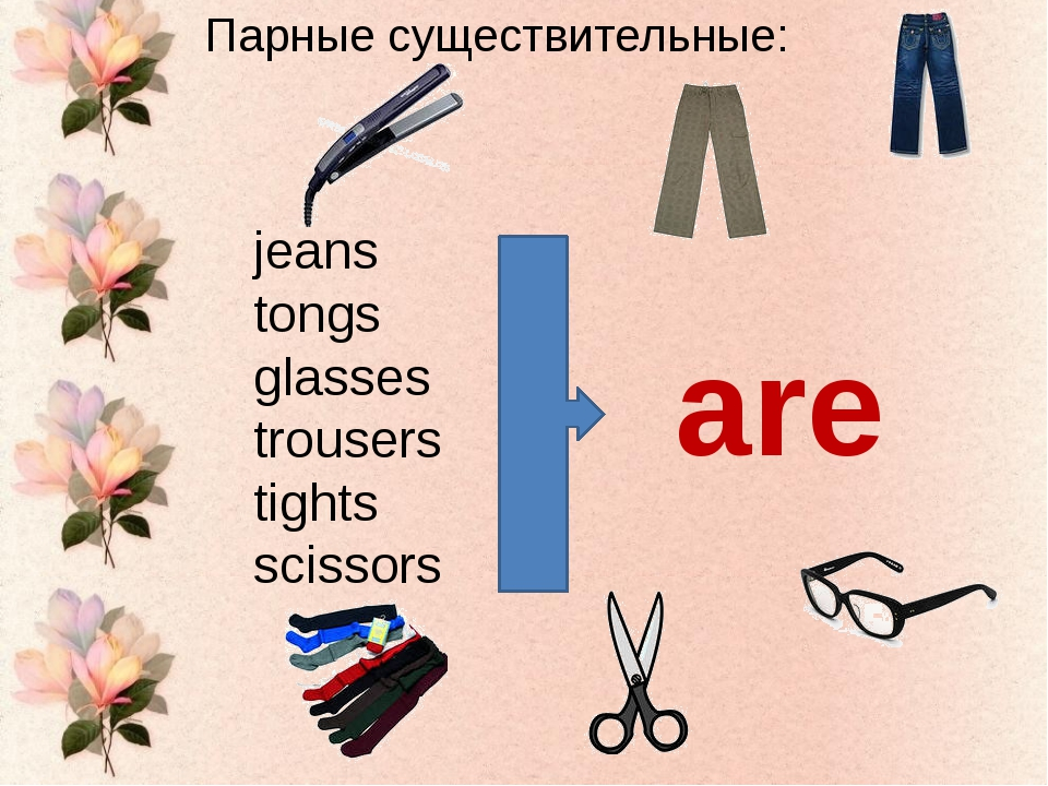 jeans tongs glasses trousers tights scissors Парные существительные: are