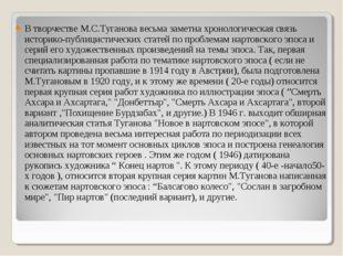 В творчестве М.С.Туганова весьма заметна хронологическая связь историко-публи