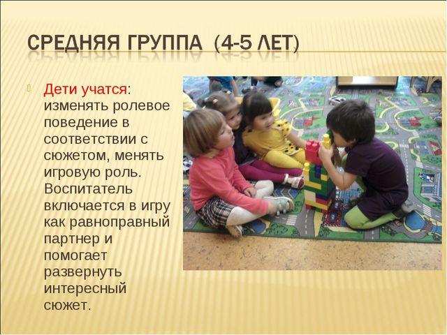 Дети учатся: изменять ролевое поведение в соответствии с сюжетом, менять игро...