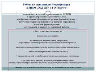 Работа по повышению квалификации в МБОУ ДОД ЦТР и ГО «Радуга» -прохождение ку