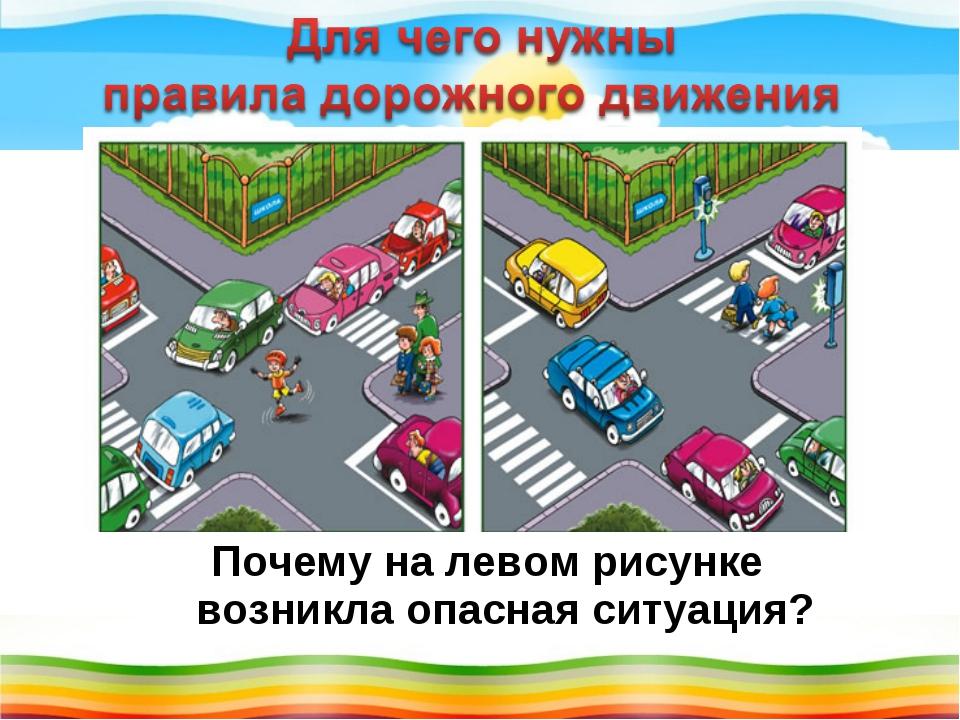 Почему на левом рисунке возникла опасная ситуация?