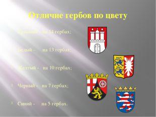 Отличие гербов по цвету Красный – на 14 гербах; Белый – на 13 гербах; Желтый
