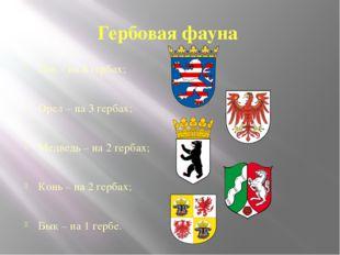 Гербовая фауна Лев – на 8 гербах; Орел – на 3 гербах; Медведь – на 2 гербах;