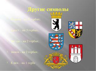Другие символы Корона – на 5 гербах; Крест – на 3 гербах; Звезда – на 2 герба