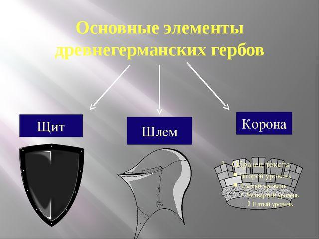 Основные элементы древнегерманских гербов Щит Шлем Корона