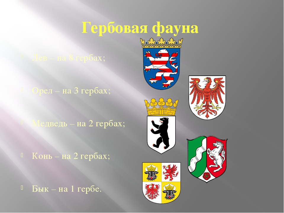 Гербовая фауна Лев – на 8 гербах; Орел – на 3 гербах; Медведь – на 2 гербах;...