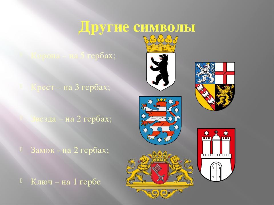 Другие символы Корона – на 5 гербах; Крест – на 3 гербах; Звезда – на 2 герба...