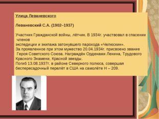 Улица Леваневского Леваневский С.А. (1902–1937) Участник Гражданской войны, л