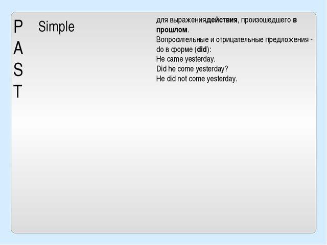 P A S T Simple для выражениядействия, произошедшегов прошлом. Вопросительные...