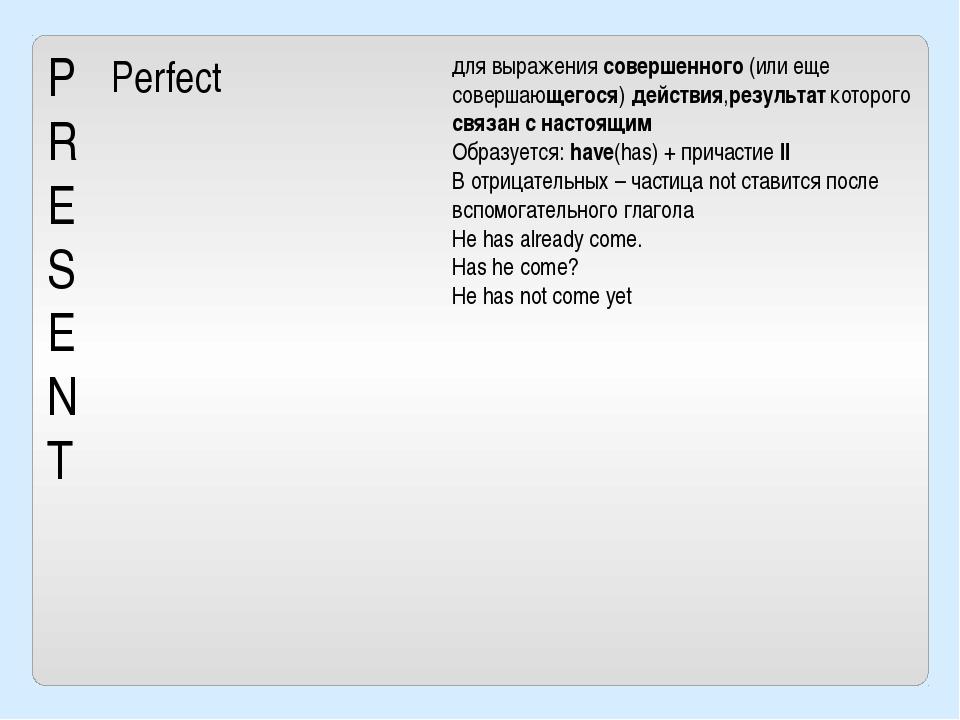 P R E S E N T Perfect для выражения совершенного(или еще совершающегося) дей...