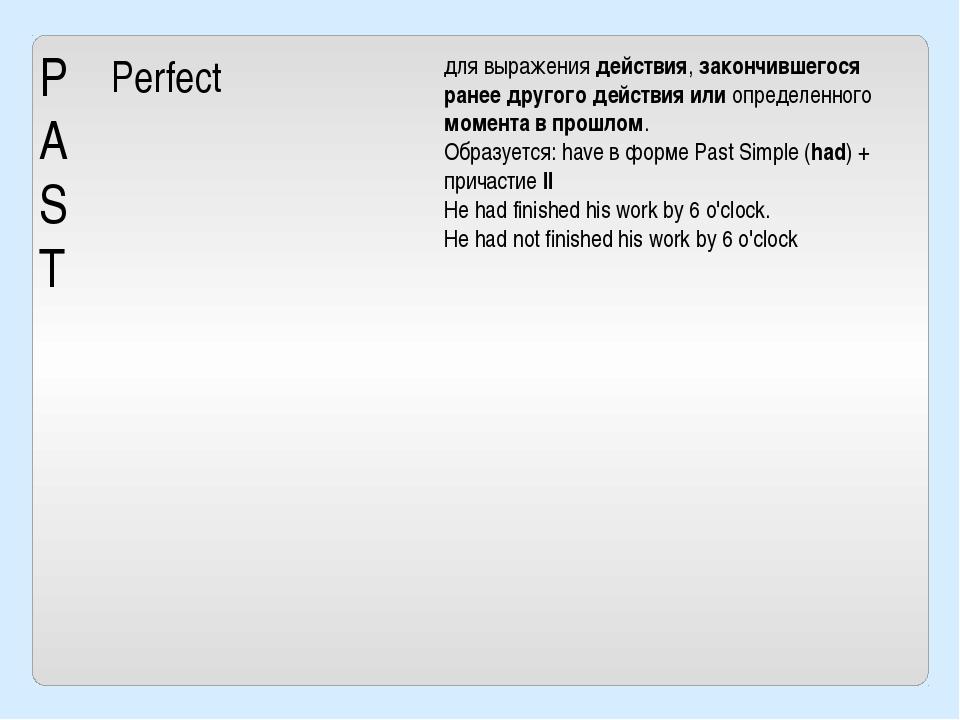 P A S T Perfect для выражения действия, закончившегося ранее другого действия...