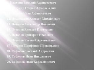 9. Налунин Василий Афанасьевич 10. Налунин Степан Афанасьевич 11. Наумов Иван