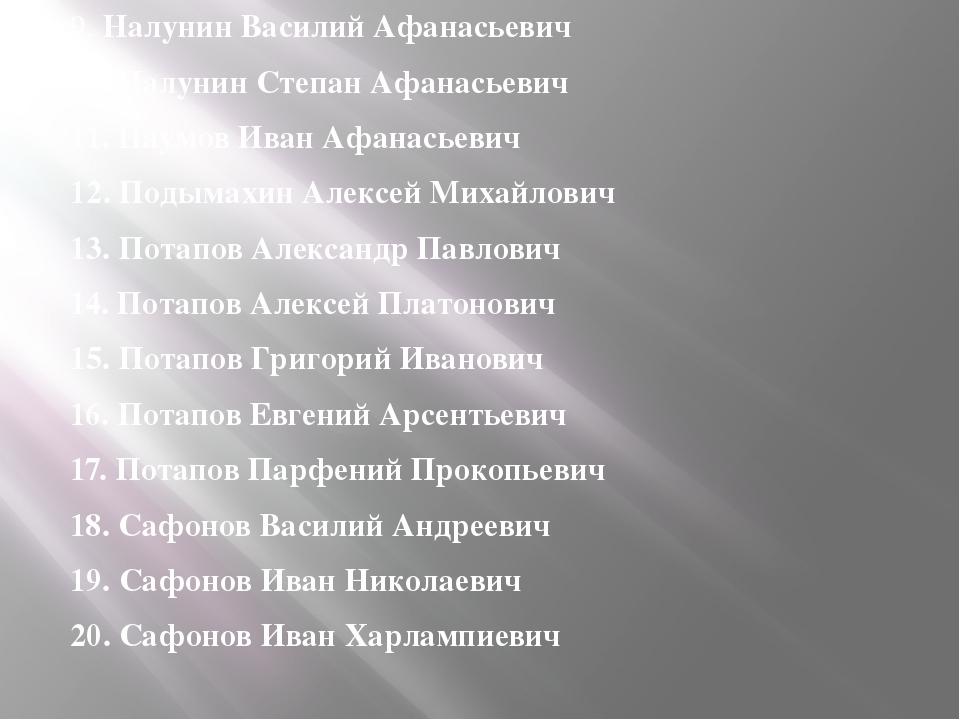 9. Налунин Василий Афанасьевич 10. Налунин Степан Афанасьевич 11. Наумов Иван...