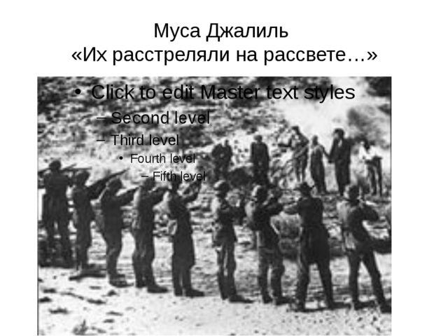 Муса Джалиль «Их расстреляли на рассвете…»