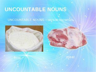 UNCOUNTABLE NOUNS UNCOUNTABLE NOUNS – нельзя посчитать flour meat