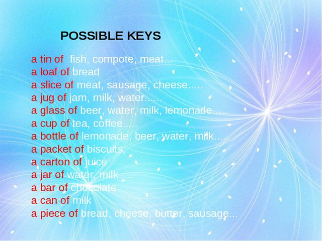 POSSIBLE KEYS a tin of fish, compote, meat... a loaf of bread a slice of meat...