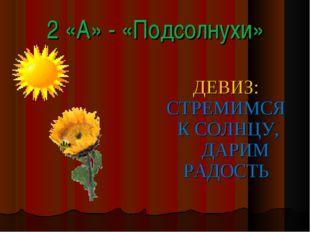 2 «А» - «Подсолнухи» ДЕВИЗ: СТРЕМИМСЯ К СОЛНЦУ, ДАРИМ РАДОСТЬ