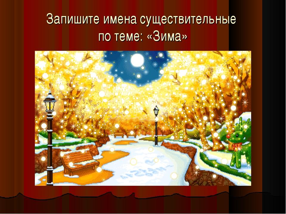 Запишите имена существительные по теме: «Зима»