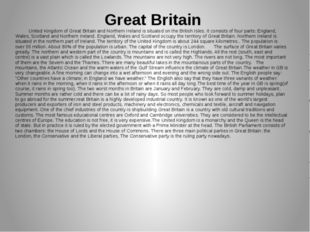 Great Britain United Kingdom of Great Britain and Northern Ireland is situate