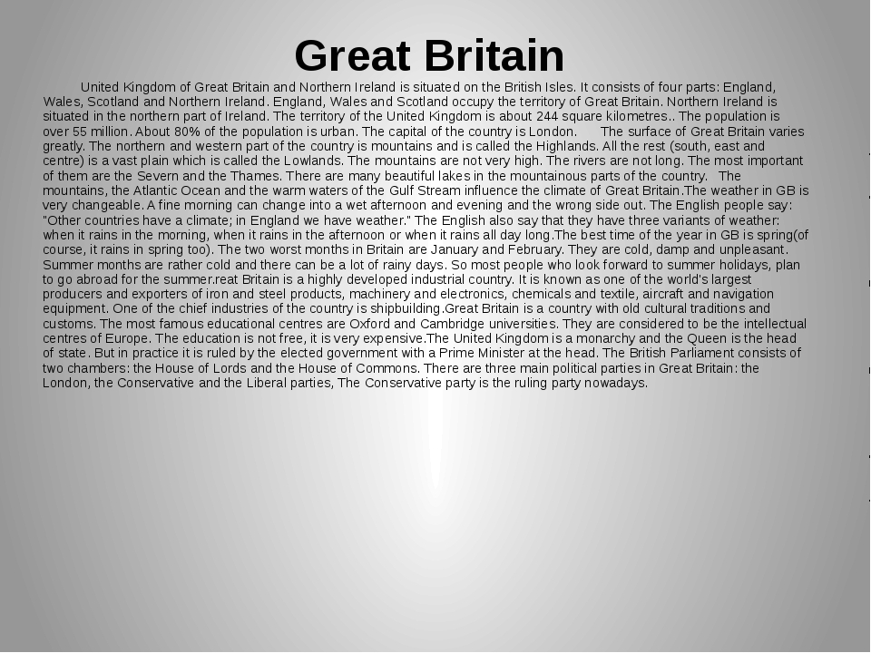 Great Britain United Kingdom of Great Britain and Northern Ireland is situate...