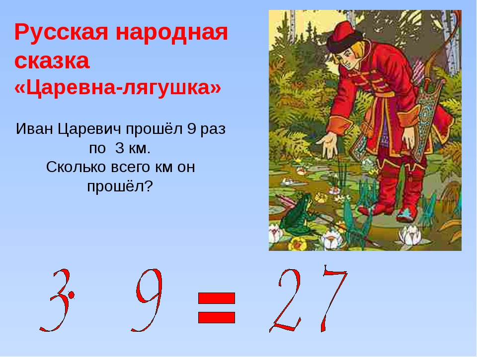 Русская народная сказка «Царевна-лягушка» Иван Царевич прошёл 9 раз по 3 км....