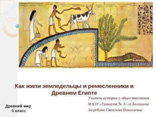 Как жили земледельцы и ремесленники в Древнем Египте Учитель истории и общест