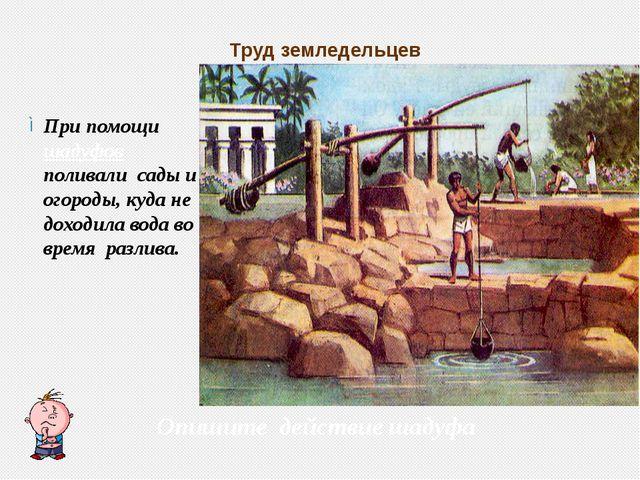 Труд земледельцев При помощи шадуфов поливали сады и огороды, куда не доходил...